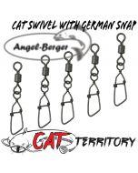Mikado Cat Territory Rolling Swivel with German Snap Welswirbel Wallerwirbel