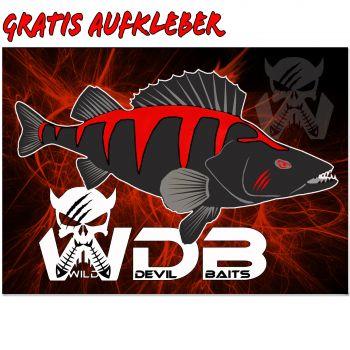 Wild Devil Baits Barsch Aufkleber gratis Perch Sticker  Barschangeln Fsichaufkleber