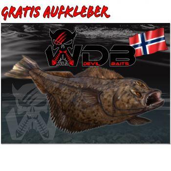 Angel Berger Wild Devil Baits Heilbutt Aufkleber gratis Butt Sticker  Meeresangeln Norwegen Aufkleber