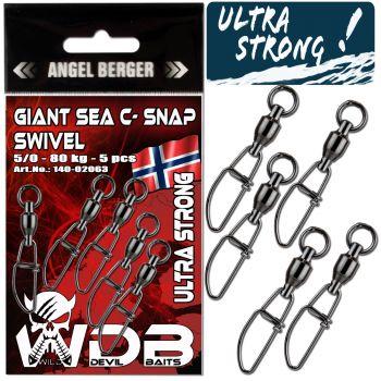 Wild Devil Baits Giant Sea C- Snap Swivel Meereswirbel Norwegen Kugellager Wirbel