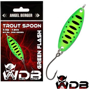 Wild Devil Baits Trout Spoon Green Flash Forellen Blinker Mini Spoon Forellenangeln